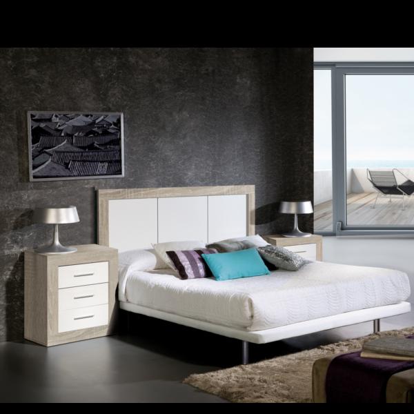 Dormitorio matrimonio Cambrian con mesita 3 cajones combinado en blanco