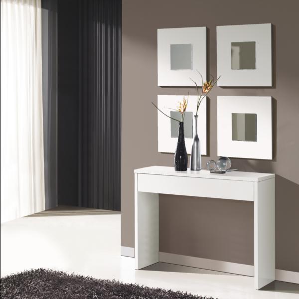 Consola U recibidor completo consola U con 4 espejos acabado blanco