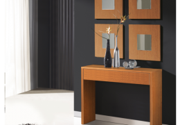 Consola U recibidor completo con 4 espejos acabado color cerezo