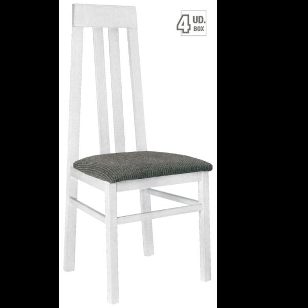 Silla de madera acabado blanco - Tapizado de sillas de comedor ...
