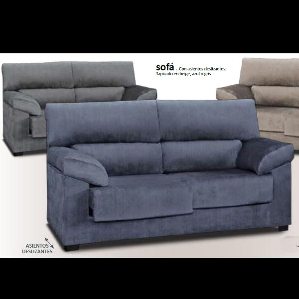 Sofa 3 plazas con asientos deslizantes tapizado gris for Sofa 4 plazas asientos deslizantes