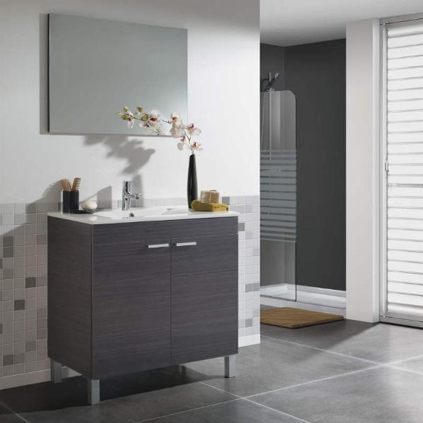 Mueble de aseo con espejo sin lavamanos manila gris ceniza for Lavabo profundo
