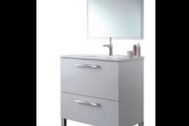 Mueble de baño Nadia con espejo y sin lavabo, acabado blanco brillo