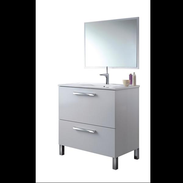 Mueble de ba o con espejo sin lavamanos nadia blanco for Mueble con espejo para bano