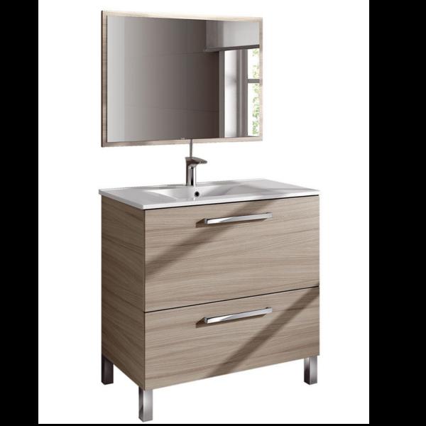 Mueble de baño con espejo sin lavamanos modelo Naida, acabado color nature