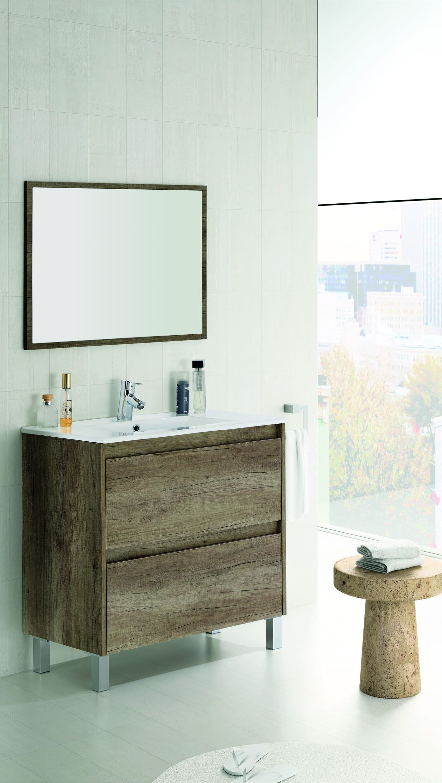 Mueble de ba o con espejo sin lavamanos zenda nordik for Mueble con espejo
