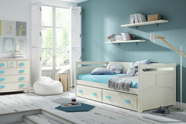 Juvenil Ocean 301 dormitorio juvenil blanco-azul