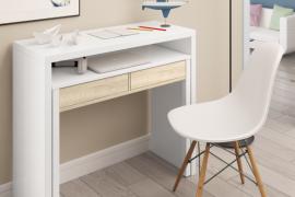escritorio desplegable TIPO CONSOLA modelo tyron acabado blanco artik combinado color Roble Canadian