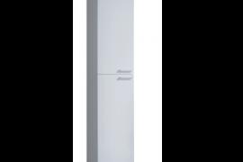 Columna para baño acabado blanco brillo, 2 puertas, 4 huecos interiores de almacenaje