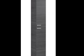 Columna para baño acabado ceniza, 2 puertas, 4 huecos interiores de almacenaje