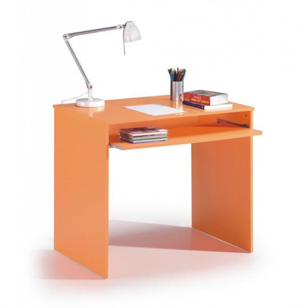 Mesa escritorio acabado naranja con estante extraible