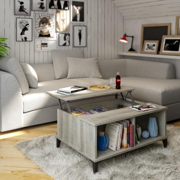 Mesa centro con patas y sobre elevable - Puff para salon ...