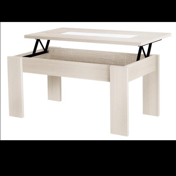 Mesa centro tapa elevable acabado n rdico con detalle for Centro de mesa cristal wolff