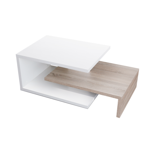 Mesa centro fija modelo U acabado blanco combinado con roble cambrian