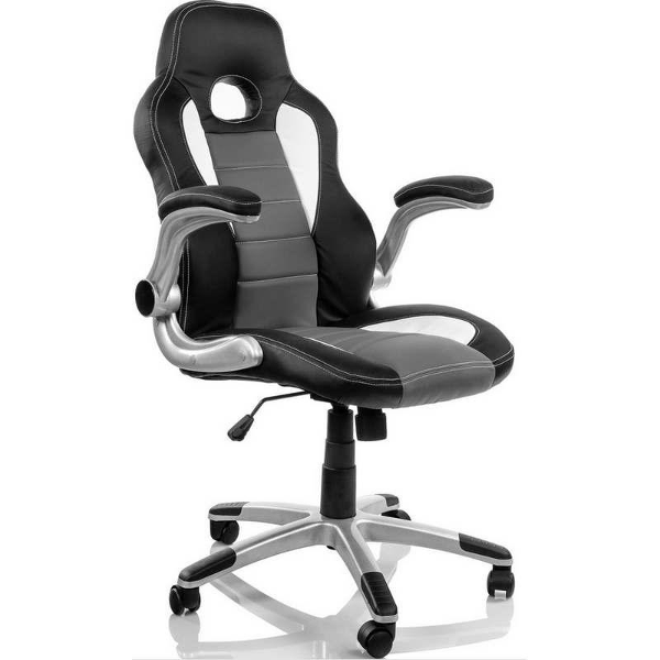 Silla de oficina coche negro gris tipo gaming for Sillas de ordenador