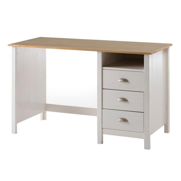 escritorio modelo jade 3 cajones acabado blanco-roble