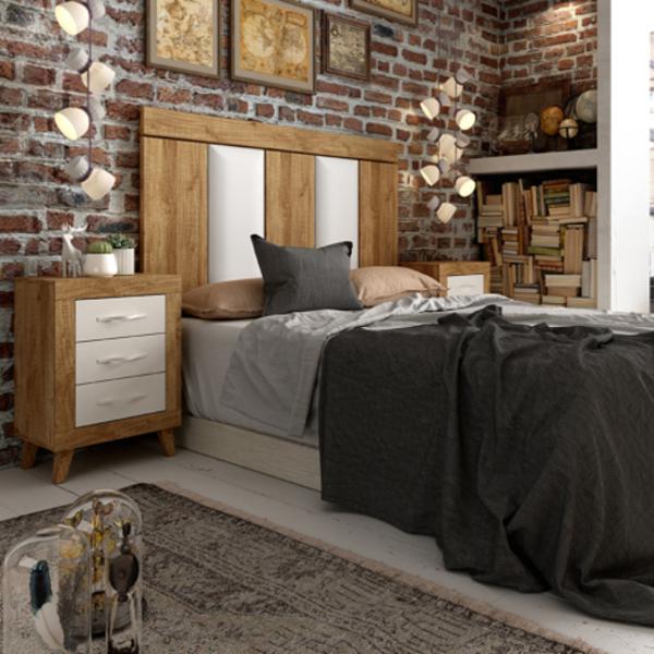 Dormitorio 205 Jordan acabado mango-soul blanco y cabecero ada combinado polipiel blanco