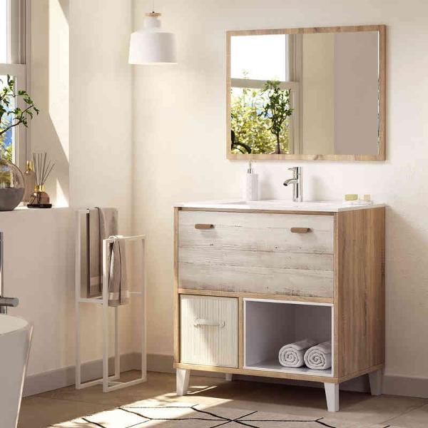 Mueble de baño con lavabo y espejo incluido acabado Cambrian-pino