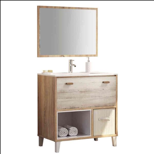 Mueble de ba o con lavabo y espejo cambrian pino - Mueble de pino ...