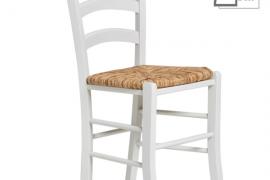Silla modelo paloma acabado blanco con asiento de enea