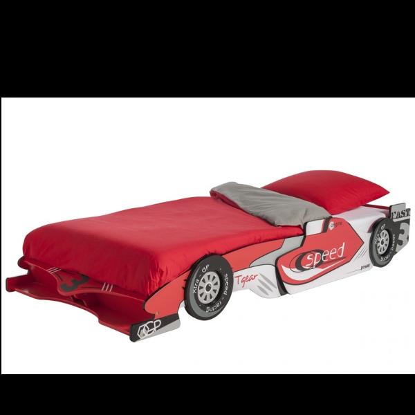 Cama coche de carreras color rojo-blanco