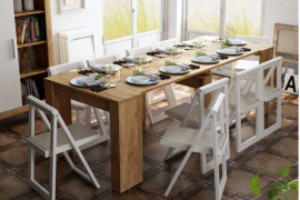 Mesa de comedor multifuncional extensible de Muebles Azor abierta
