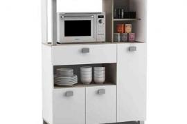 Mueble auxiliar microondas con 3 puertas y 1 cajon