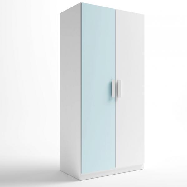 Armario Juliette 2 puertas acabado blanco combinado con azul nube