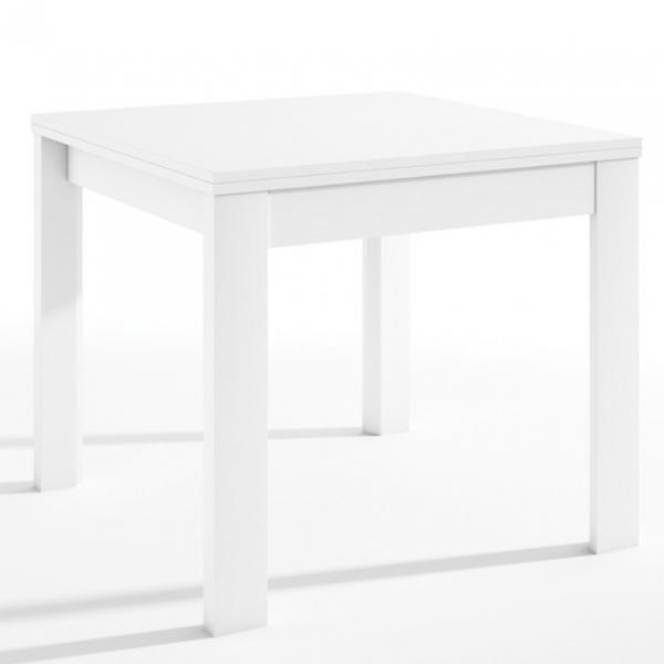 Mesa cuadrada Malmo extensible tipo libro acabado color blanco