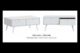 Mesa centro Harmony acabado roble blanco combinado blanco