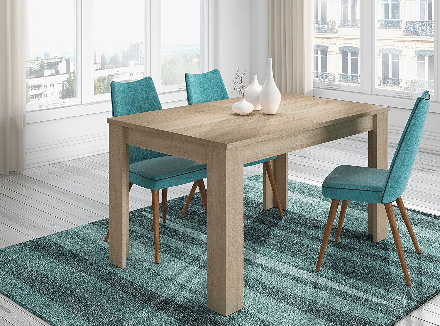 Mesa de comedor kendra roble canadian extensible for Muebles de salon modernos en color roble