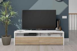 Mesa Tv Kioto acabado blanco artik combinado roble canadian