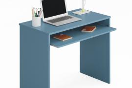 mesa escritorio azul I-Joy del programa Kids con bandeja extraible y acabado color azul