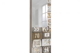 Zapatero estrecho con espejo modelo impresion NUMEROS, almacenaje zapatos con varillas