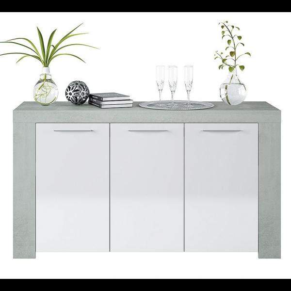 Aparador estilo industrial acabado Cemento combinado color blanco artik