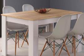 Mesa de comedor Alida, acabado Roble Canadian combinado Blanco Artik