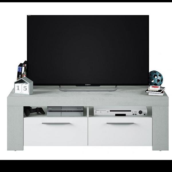 Mesa TV estilo industrial acabado color cemento y combinado en blanco artik