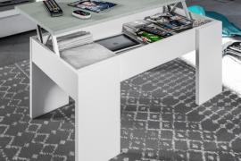 Mesa centro elevable estilo industrial color blanco artik combinado color cemento, detalle mesa abierta