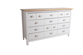 Cómoda Jade 12 cajones acabado color blanco con tapa color roble, fabricada en madera de pino.