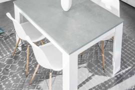 Mesa de comedor estilo industrial acabado cemento combinado color blanco