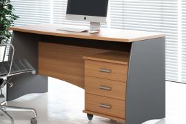 Mesa despacho acabado castaño gris con buc 3 cajones