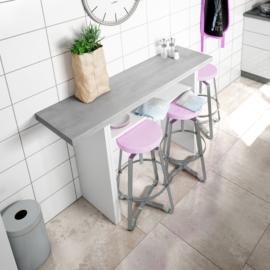 Mesa desplegable Tavolo acabado Blanco Artik combinado color cemento