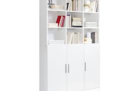 Estantería Librería 3 puertas 9 huecos acabado color blanco