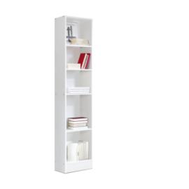 estantería librería alta con 5 huecos acabado blanco