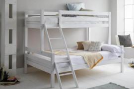 Litera con cama de matrimonio modelo Capricho acabado madera color blanco
