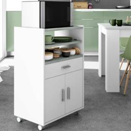 Mueble microondas blanco con 1 cajón y 2 puertas combinando los estantes en color cemento