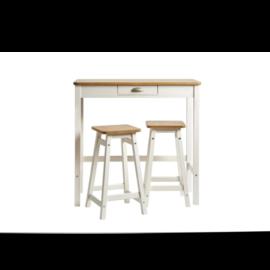 Mesa de cocina alta con 2 taburetes acabado blanco combinado color roble