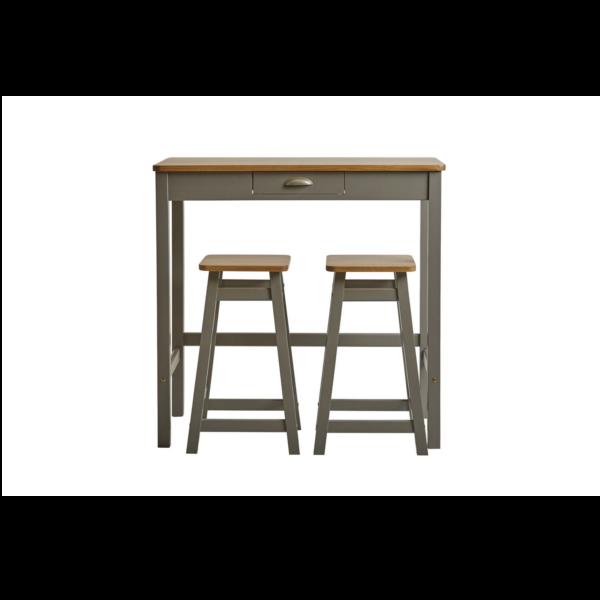 Mesa de cocina alta con 2 taburetes acabada en madera de pino color gris y roble
