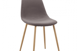 silla tapizada con patas metálicas con revestimiento imitando la madera y acabado tapizado color gris