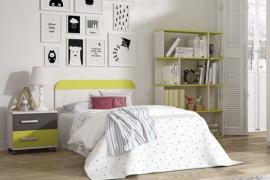 Dormitorio Juvenil Parchís 28 acabado andersen pino combinado color verde y grafito